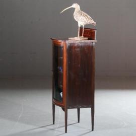 Antieke kasten / Muziekkastje in mahonie met bol glas ca. 1910 kleine opstaande rand  (No.591044)