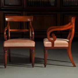 Antieke stoelen / Stel van 2 mahonie biedermeier armstoelen  ca. 1865  (No.391353)