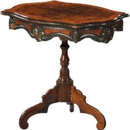 Antieke bijzettafels / wijntafels / Mariage Willem III tafel eind 19e eeuw  in wortelnotenhout met zwart (No. 470747)