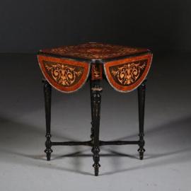 Antieke bijzettafels / Feestelijke Napoleon III flappen-tafel marqueterie ca. 1880 Frankrijk (No.552841)