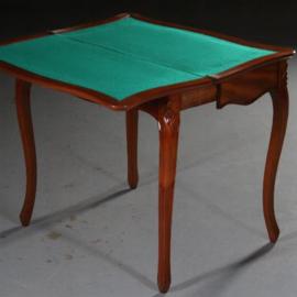 Antieke bijzettafels / Hollandse Mahonie Willem III Speeltafel ca. 1870 met groen binnenblad. (No.591565)