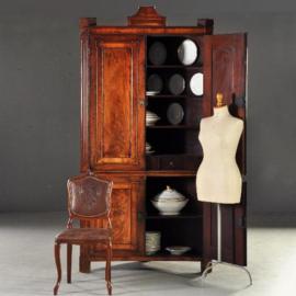 Antieke kasten  / Hollands mahonie 4-deurs Louis Seize hoekkabinet ca. 1790 (No. 191511)