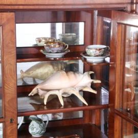 Antieke kasten / Mahonie Vitrine kast met spiegels en dichte onderkast Biedermeier (No.610251)