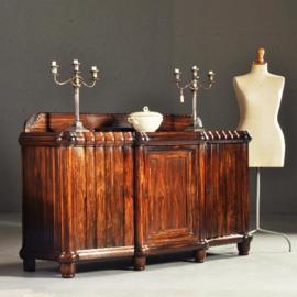 Antieke kasten / Coromandel dressoir met 3 deuren waarvan 2 orgelgebogen ca. 1900 (No.222421)