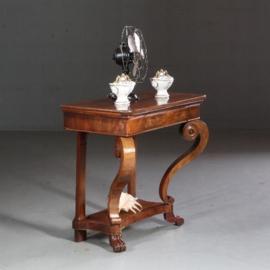 Antieke bijzettafels / Frans wandtafel of trumeau met lade  ca. 1840 mahonie (No.602122)