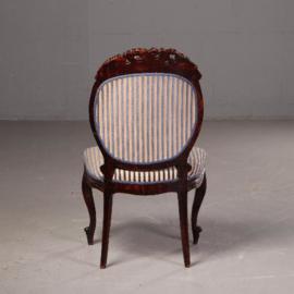 Antieke stoelen / Stel van 2 Hollandse kolossale Koloniale salonzetels in palissander ca. 1875 (No.541743)