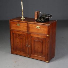 Antieke kasten / Campaign desk / op-reisbureau / in mahonie ca. 1840 met lade en bureau (No.550743)