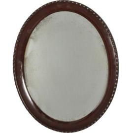 """Antieke spiegels / Strakke gladde ovaal facet geslepen spiegel ca. 1900  zogenaamde """"Paris Mirror"""" duidelijk verweerd (No.192350)"""