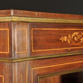 Antieke kasten / kleine boekenkast in palissander ca. 1900 met lijsten van brons en ingelegde panelen (No.390653)