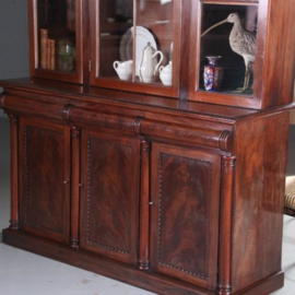Antieke kasten / Hoge mahonie Victoriaanse bibliotheekkast ca. 1850 in mahonie met oud glas (No.582942)