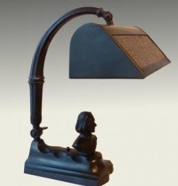 Antiek varia / metalen bureaulamp / pianolamp met borstbeel Liszt  (No98504)