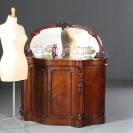 Antieke kasten / Mahonie Victoriaans serpentine  shaped sideboard ca. 1870 met spiegelwand (No.602111)