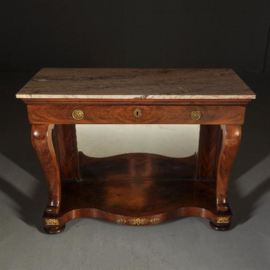 """Antieke bijzettafel / Hollandse trumeau met """"pop-up"""" etagere ca. 1810 en met twee uittrekbladen (No.353152)"""