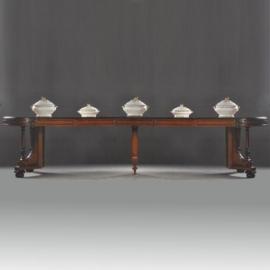 Antiek tafels / Hollandse coulissetafel Willem III in notenhout met zwart ca. 1875 (No710555)