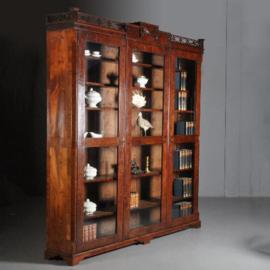 Antieke kasten / Boekenkasten / 18e eeuwse porseleinkast  mahonie 2,75 m hoog (No.532118)