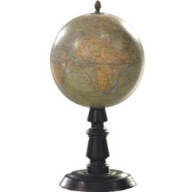 "Antieke globes / Kleine tafelglobe of aardbol ""J. Forest Paris""  op zwart gedraaid houten voetje (No.123068)"