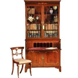 Antieke kasten / Boekenkast in mahonie met fraai bureau en inlegwerk ca. 1860 zeer strak(No-331111)