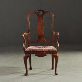 Antieke stoelen /  Mahonie armstoelen 1900 chipendale incl herstoffering naar wens (No.151224AS)