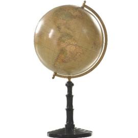 """Antieke globes / Aardbol """"Handels- en verkeersroutes"""" op gedraaide houten voet zwart gepolitoerd (No.123062)"""