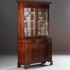Antieke kasten / Engelse servieskast / boekenkast 1890 in bloemmahonie met fraai inlegwerk (No.581652)