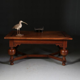 Antieke tafels / Doorleefde bolpoottafel als schrijftafel of eetkamertafel ca. 1875 in eikenhout met ebben (No.532755)