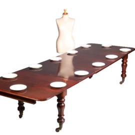 Antieke tafels / Victoriaanse mahonie pull out table ca. 1865 tot 3,39 m lengte  (No.630945)