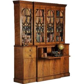 Antieke kasten / Groot breakfront bibliotheekkast ca. 1920 met uitklapbaar bureau (No.282911)