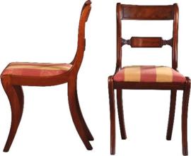 Antieke stoelen / stel van 8 eetkamerstoelen in mahonie ca. 1840 waarvan 2 met armleuningen (No-942856)