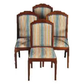 Antieke stoelen / stel van 4 zeer  comfortabele en zware mahonie Art Deco stoelen  ca. 1910 Hollands  (No.302741)