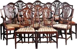 Antieke stoelen / Stel van 12 antieke stoelen 19e eeuw inclusief bekleding naar wens (No-931902)
