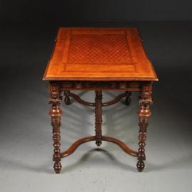 """Antieke bureaus / Rijk ingelegde schrijftafel gemerkt """"gebr. Horrix"""" ca. 1870 (No.300531)"""