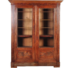 Antieke kasten / Notariskast / boekenkast in mahonie met bloemmahonie ca. 1820 met 6 laden (No.361123)