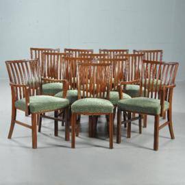Antieke stoelen / Stel van 6 comfortabele eetkamerstoelen ca. 1925 mahonie - prijs incl. bekleding naar wens (No.412032)
