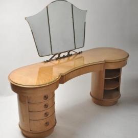 Antieke kaptafels / Brede Vintage kaptafel  `30-`40 met cilindrische delen en 3-slags spiegel (No471206)
