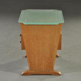 Antieke kasten / Sprankelend theekastje / ladenkastje ca. 1950 met dik glazen bovenblad (No.270539)