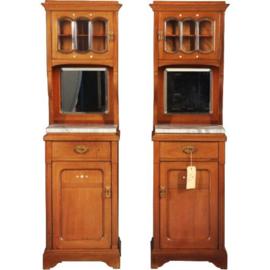 Antiek kasten / stel hoge art deco nachtkastjes ca. 1900 in mahonie met marmer en parelmoer recht en links draaiend (No.212241)