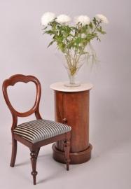 Antiek nachtkastje / Cilindrisch nachtkastje met marmer blad ca. 1860 (No86547)