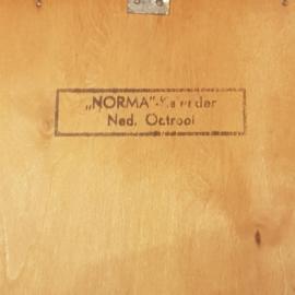 """Antiek Varia / """"Norma"""" Ned. Octrooi eeuwigdurende kalender ca. 1920 in hout  (No.281201)"""