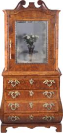 antieke kasten / Wortelnoten topbureau of spiegelkabinet ca. 1775 met schrijflade (No-871544)