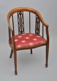 Antieke Armstoel / Bureaustoel Hepplewhite stijl noten met inlegwerk ca. 1900 (No463727)