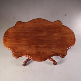 Antieke tafels / Grote Hollandse Spinpoottafel ca. 1860 massiefmahonie geschulpte rand. (No.541961)