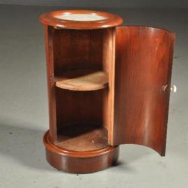 Antieke kasten / gaaf cilindrisch nachtkastje ca. 1850 mahonie en wit marmer  (No.380962)