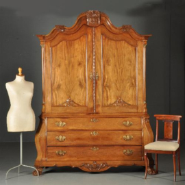 Antieke kasten / Blond Hollands Kabinet transition ca. 1775 in massief mahonie (No.393016)*