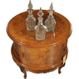 Antiek varia / Cilindervormige cocktailbar of drankenkastje ca. 1930 in notenhout met verlichting(No.212242)