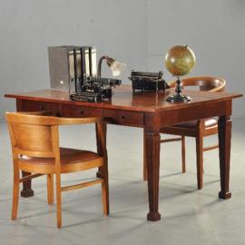 Antieke bureaus / Strakke partnerschrijftafel met 6 laden ca. 1890 in mahonie (No.521761)