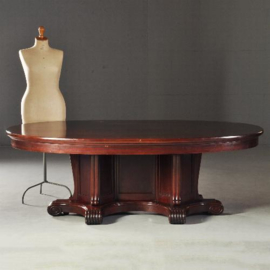 Antieke tafels / Grote art deco ovale eetkamertafel voor 8 tot 10 personen ca. 1915 in mahonie (No.121911)