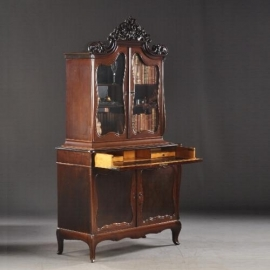 Antieke kasten / Hollands mahonie Bonheur met bureau gebrandmerkt: Gebr. Horrix ca. 1870 (No.303011)
