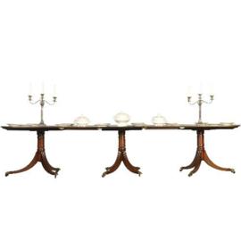 Antieke tafels /  Lange smalle triple pedestal D-end table ca. 1900  massief mahonie (No.340225)
