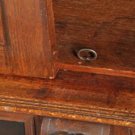 Antieke kasten / Hollandse eikenhouten tweedeurskast ca. 1875 met ebben paneeldeuren waarachter en postvakjes (No.302041)