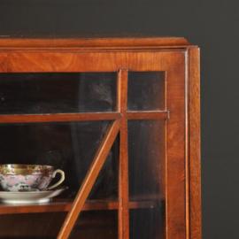 Antieke kasten / Strakke 1-deurs vitrine boekenkast ca. 1930 in mahonie (No.472053)